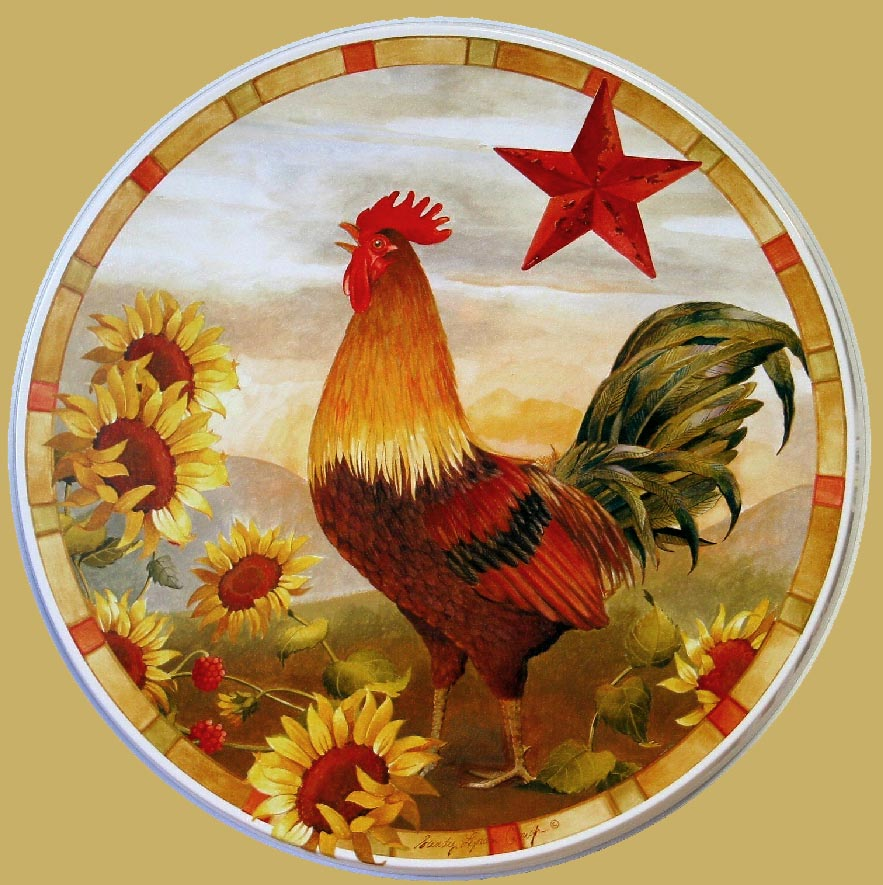 * Sunflower Rooster-Round  Metal Burner Covers