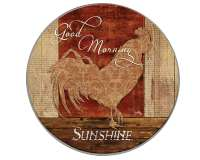 Round Burner Covers Good Morning Farm Rooster