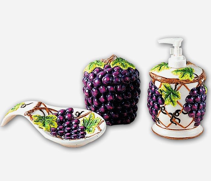 grape kitchen decor theme ceramics | wine grape | tuscan