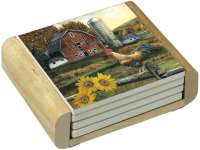 Farm Sunflower-Rooster-Barn 4 Stone Coasters & Wood Holder