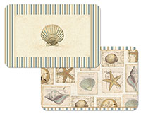 4 Seashell Collage Coastal Beach Plastic Placemats