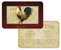 * Farm Fresh Rooster Wipe-Clean 4 Plastic Placemats