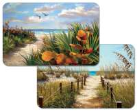 * 4 Coastal Beach Plastic Placemats Path To The Beach