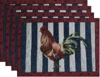 4 New Arrivals Tapestry Fabric Placemats-Americana Rooster