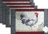 4 New Arrivals Tapestry Fabric Placemats-Fr.Rooster