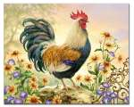 * Country Charm Rooster Glass Cuttingboard