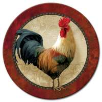 A Glass Lazy Susan Farm Fresh Rooster