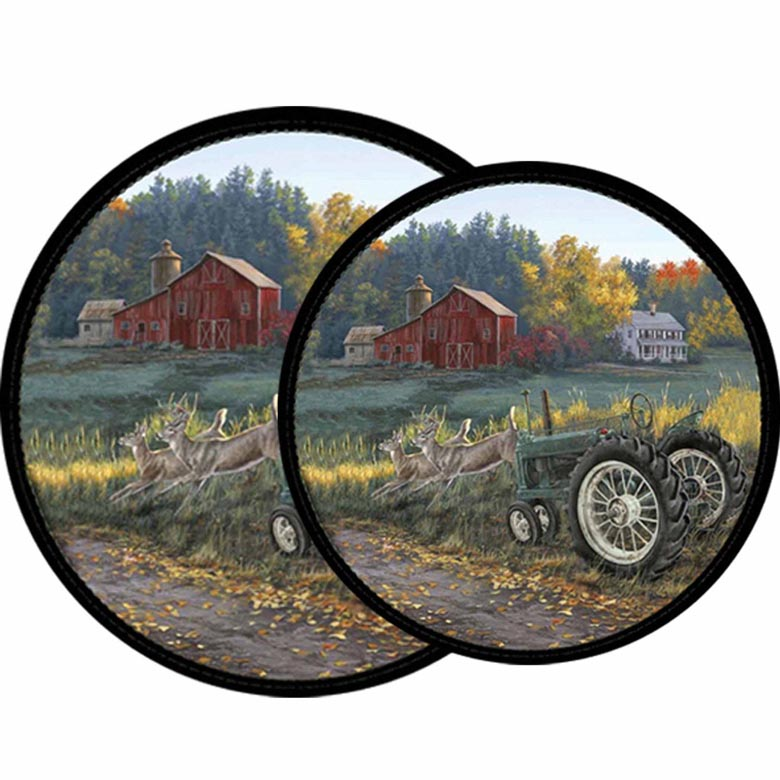 Country Farm Tractor Morning Run Burner Covers