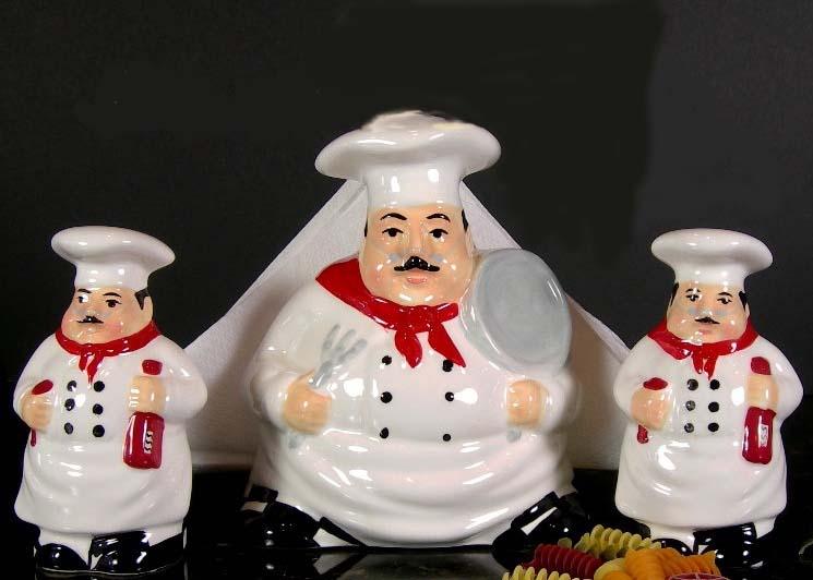 chef kitchen decor theme ceramics | canister | cookie jar | burner